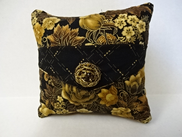 Elegant Black and Brown Flowers Decorative Pillow